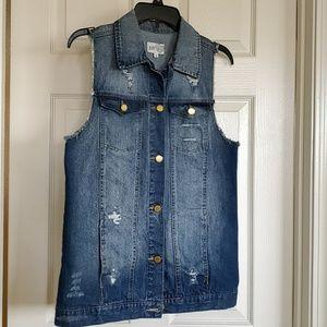 Distressed Jean Vest